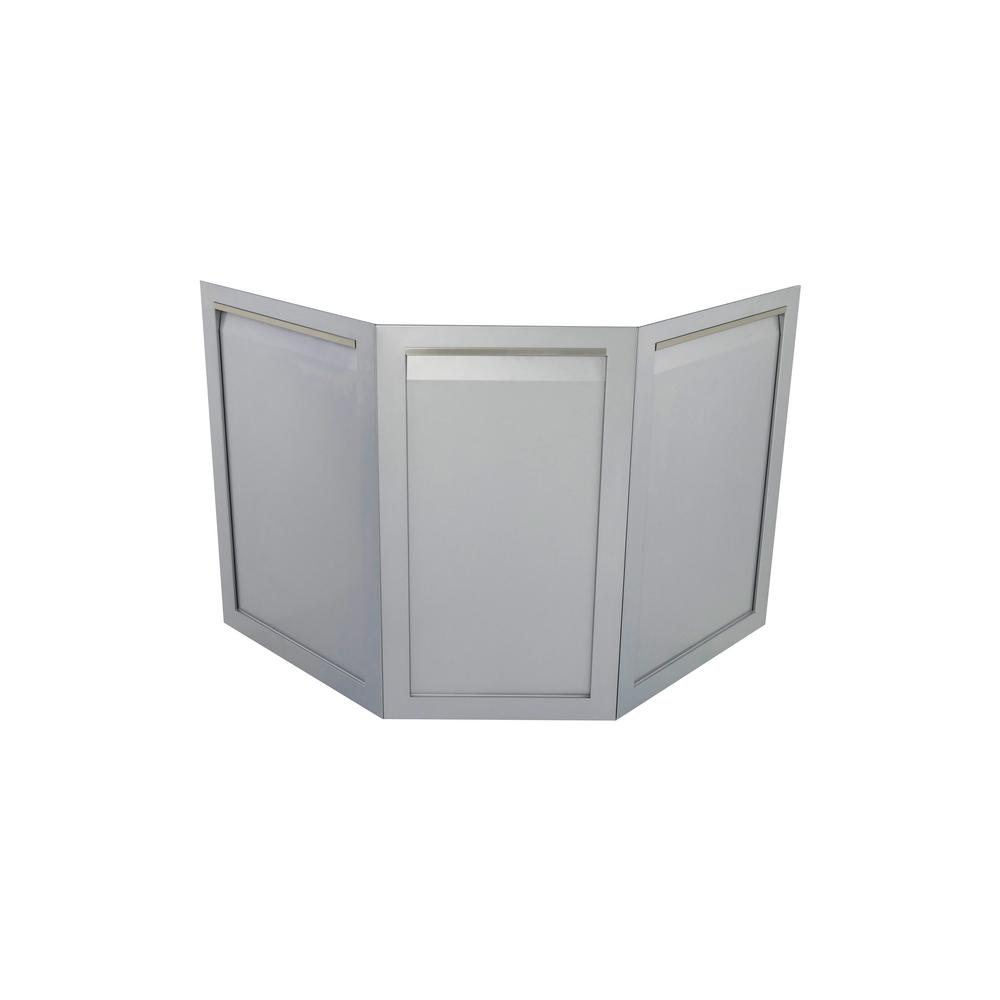 Stainless Steel Outdoor Kitchen Decorative Corner Back With Two 30.4X21.5X1  In. And One 30.4X17.5X1 In. Panels In Gray