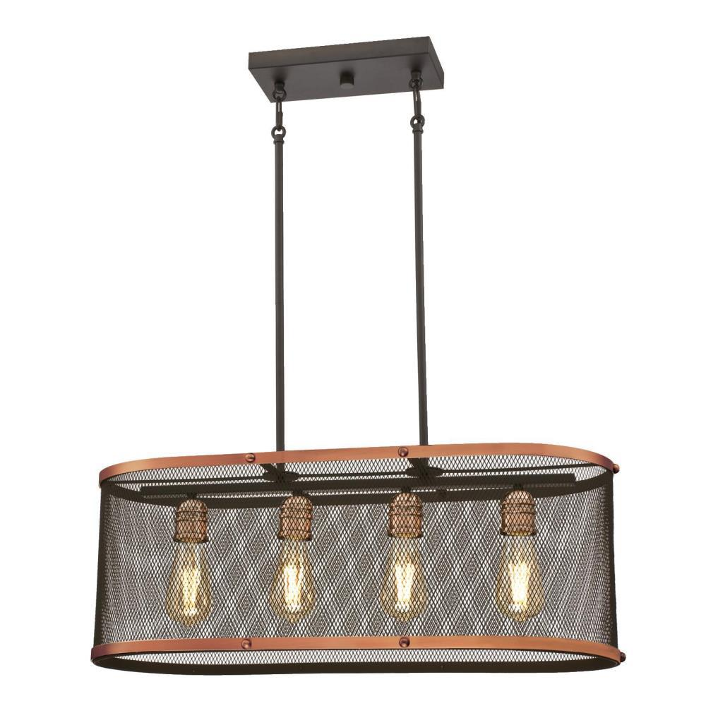 Westinghouse Emmett 4-Light Oil Rubbed Bronze with Washed Copper Accents Chandelier and Mesh Shade
