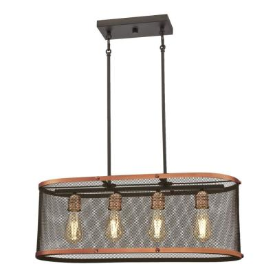 Emmett 4-Light Oil Rubbed Bronze with Washed Copper Accents Chandelier and Mesh Shade