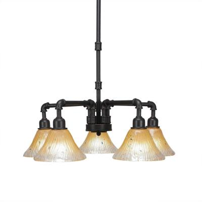 5-Light Dark Granite Chandelier with Amber Glass Shade