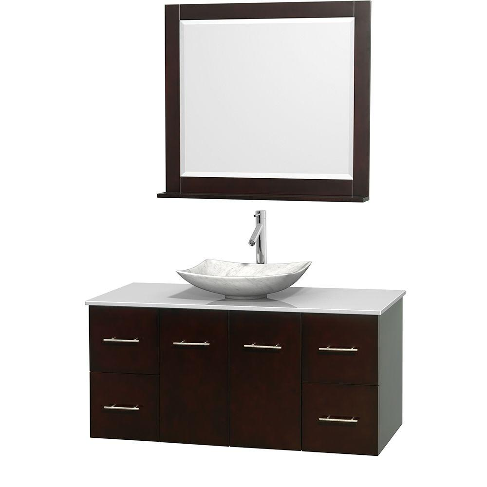 Centra 48 in. Vanity in Espresso with Solid-Surface Vanity Top in