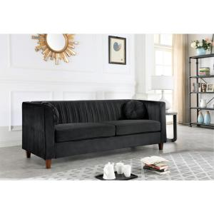 Lowery velvet Kitts Classic Chesterfield Sofa Black