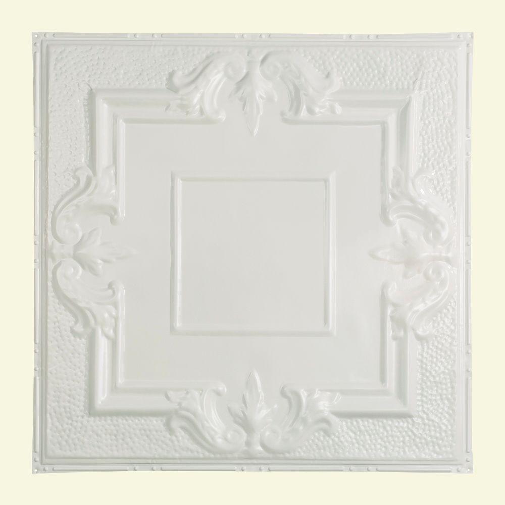 Niagara 2 ft. x 2 ft. Nail-up Tin Ceiling Tile in Matte White