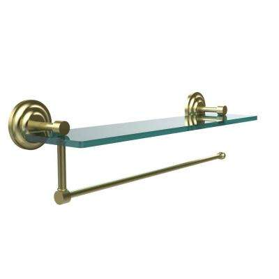 Prestige Que New 16 in. L  x 5 in. H  x 5 in. W Paper Towel Holder with Clear Glass Shelf in Satin Brass