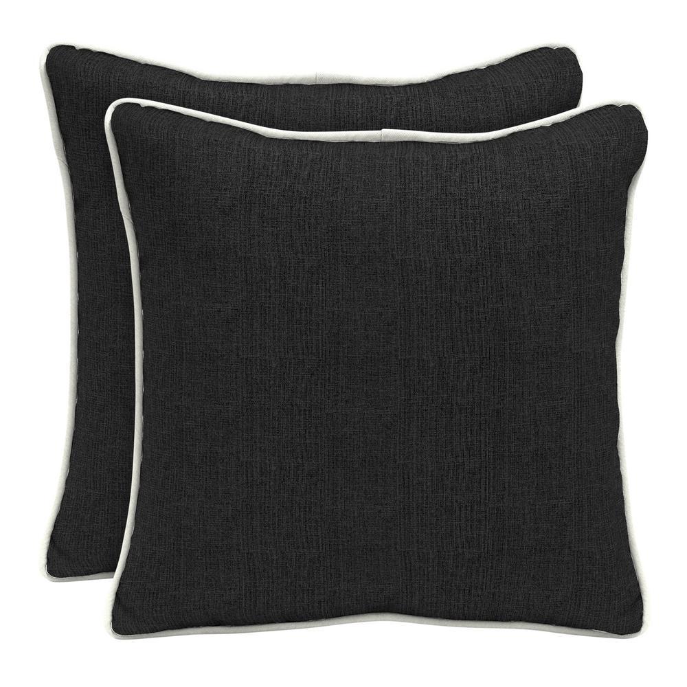 Sunbrella Canvas Black Square Outdoor Throw Pillow (2-Pack)