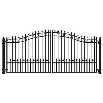 St. Petersburg Style 18 ft. x 6 ft. Black Steel Dual Driveway Fence Gate