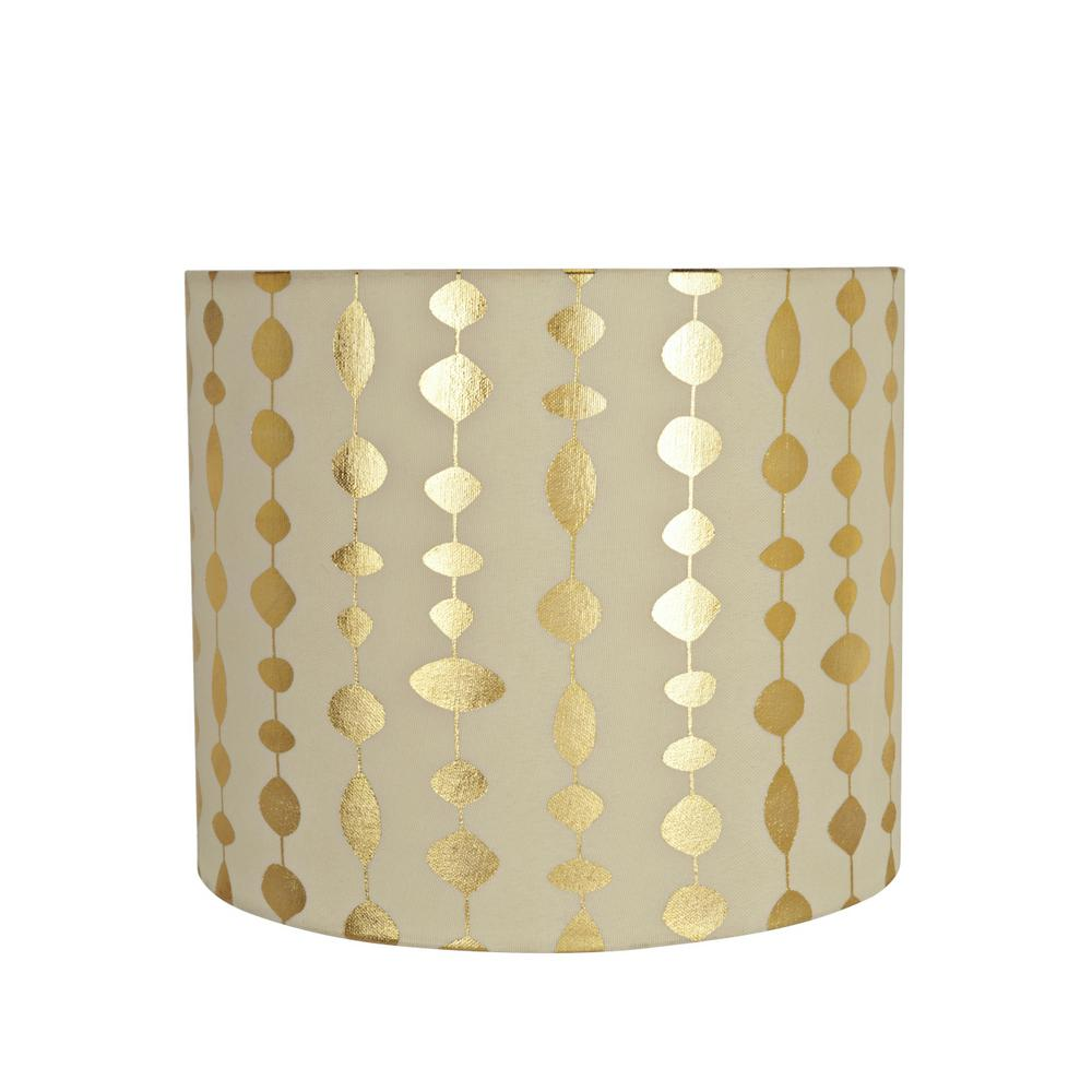 Aspen Creative Corporation 12 In. X 10 In. Beige And Gold Print Drum/