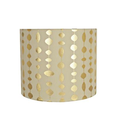 12 in. x 10 in. Beige and Gold Print Drum/Cylinder Lamp Shade
