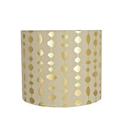 Beige And Gold Print Drum Cylinder Lamp Shade