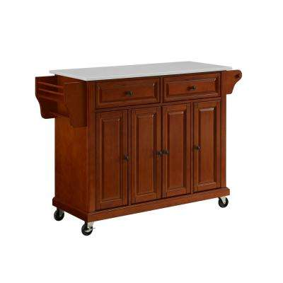 Full Size Cherry Kitchen Cart with Granite Top