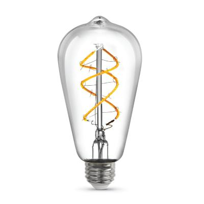40-Watt Equivalent ST19 Dimmable Clear Glass Vintage Edison LED Light Bulb with Spiral Filament Warm White (1-Bulb)