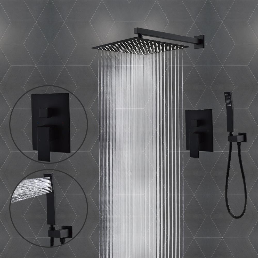 AYIVG Bathroom Brass Square Brushed nickel Shower Body Jet Spayer 4 Pcs
