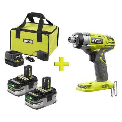 18-Volt ONE+ LITHIUM+ HP 3.0 Ah Battery (2-Pack) Starter Kit w/Charger and Bag  w/Bonus ONE+ 3-Speed Hex Impact Driver