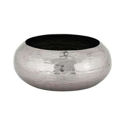 Hammered Oblong Large Decorative Bowl in Nickel