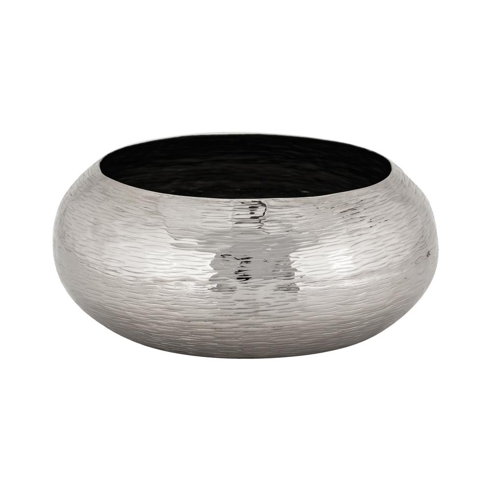 An Lighting Hammered Oblong Large Decorative Bowl In Nickel