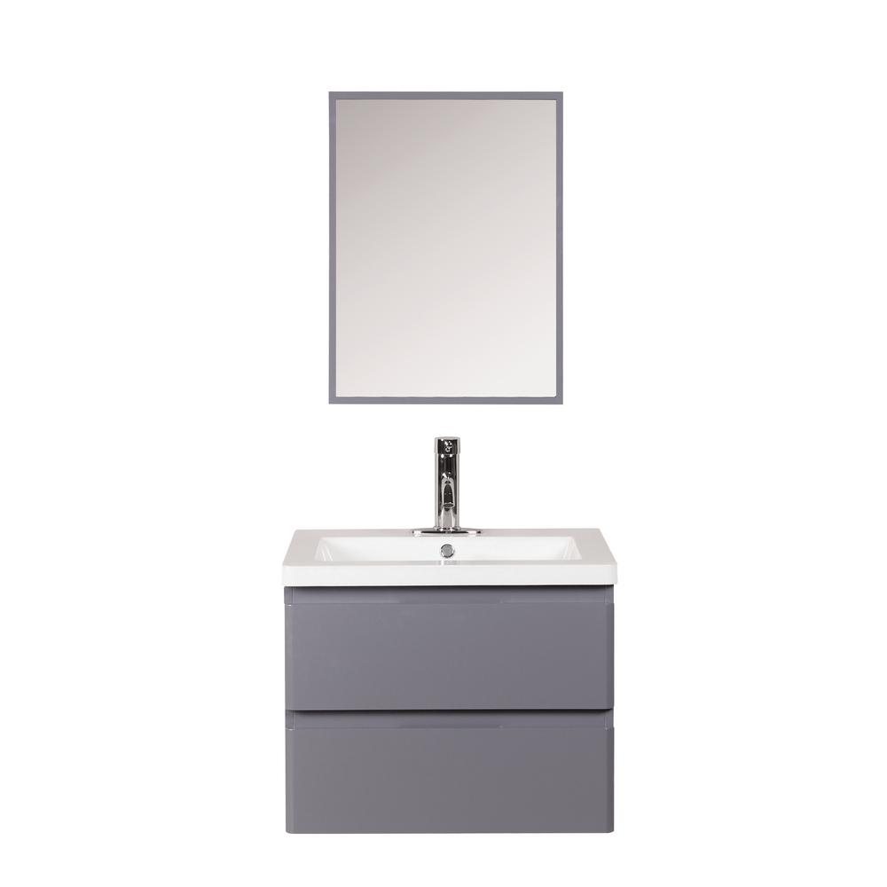 Decor Living Ariel 24 in. W x 18 in. D Floating Vanity in Gray with Cultured Marble Basin in White and Mirror