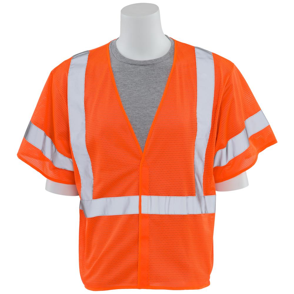 ERB S662 3X Class 3 Economy Poly Mesh Hi Viz Orange Vest