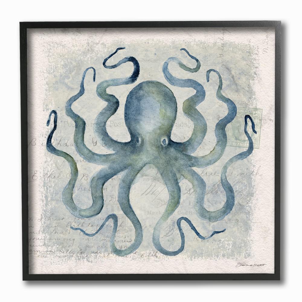 """12 in. x 12 in. """"Octopus Watercolor Illustration"""" by Stephanie Workman Marrott Framed Wall Art"""