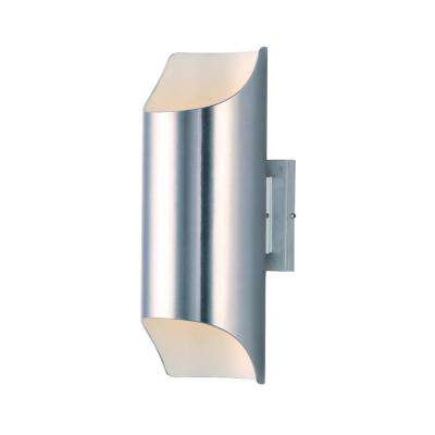 Lightray 2-Light Brushed Aluminum Integrated LED Outdoor Wall Lantern Sconce