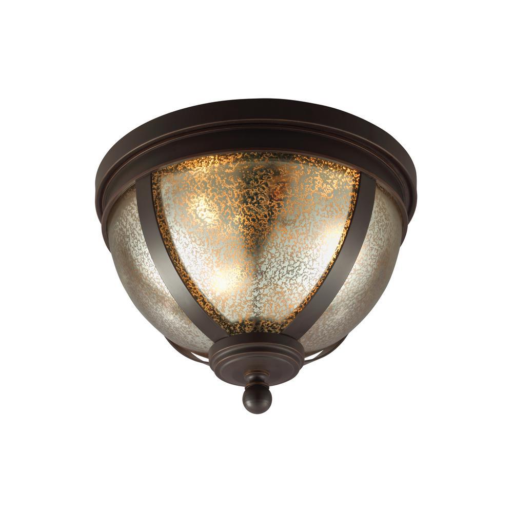 Sea Gull Lighting Sfera 14.5 in. W. 3-Light Autumn Bronze Flush Mount with LED Bulbs