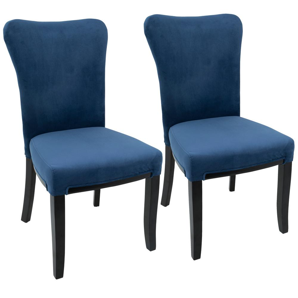 Lumisource Olivia Espresso And Navy Blue Dining Chair Set