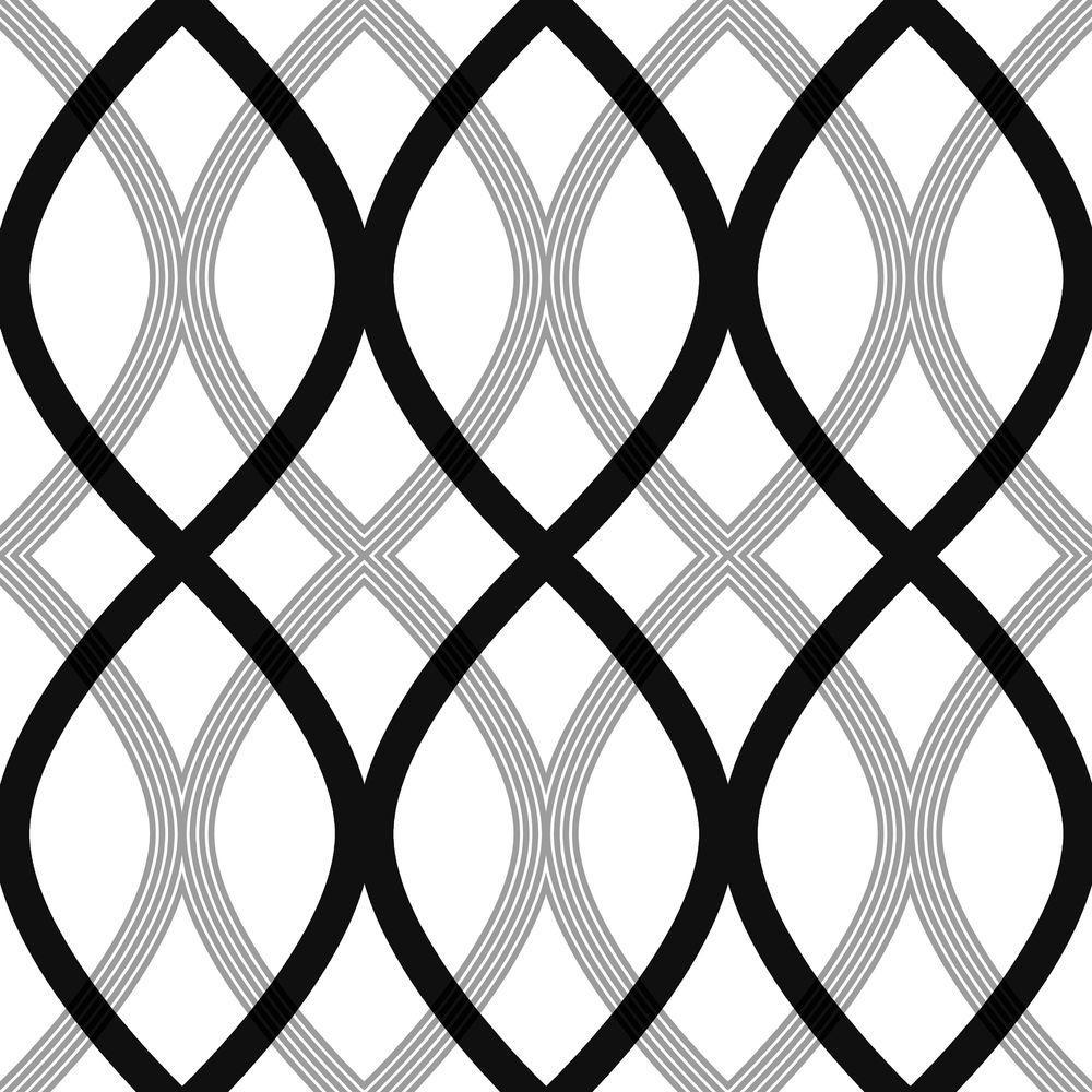 Contour Black Geometric Lattice Wallpaper Sample