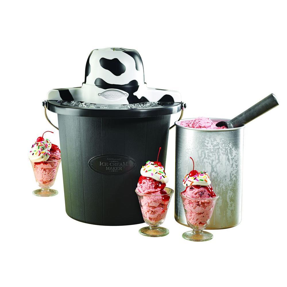 Nostalgia Electrics 4-Quart Cow Design Electric Ice Cream Maker in Black-DISCONTINUED