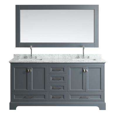 Omega 72 in. W x 22 in. D Vanity in Gray with Marble Vanity Top in Carrara White with White Basin and Mirror