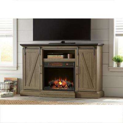 Chestnut Hill 56 in. TV Stand Electric Fireplace with Sliding Barn Door in Ash