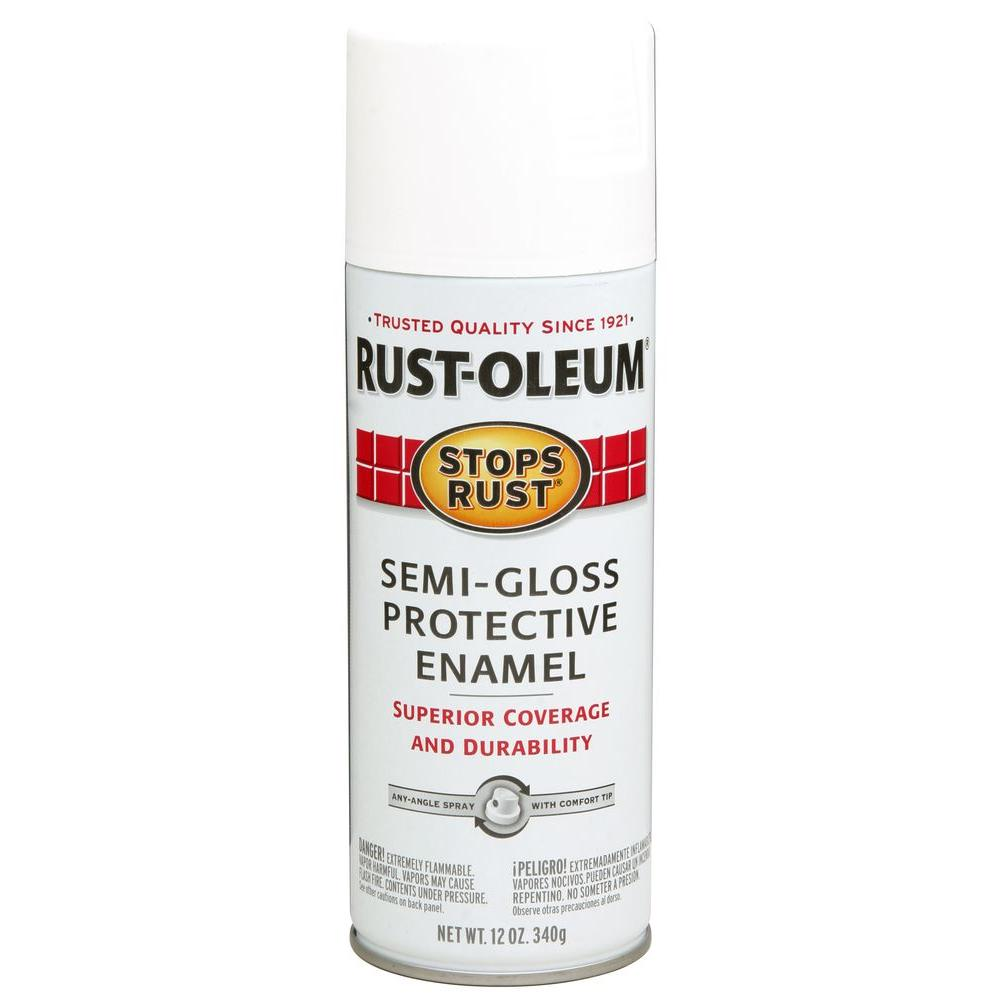 Rust-Oleum Stops Rust 12 oz. Semi-Gloss White Protective Enamel Spray Paint (6-Pack)