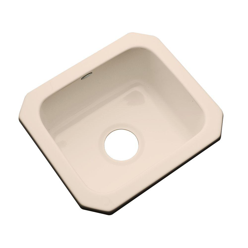 Thermocast Manchester Undermount Acrylic 16 in. 0-Hole Single Bowl Entertainment Sink Peach Bisque