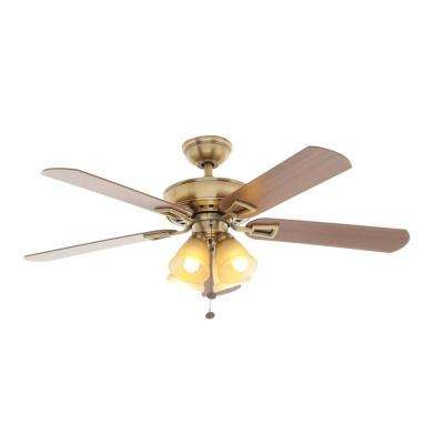 Lyndhurst 52 in. Indoor Antique Brass Ceiling Fan with Light Kit