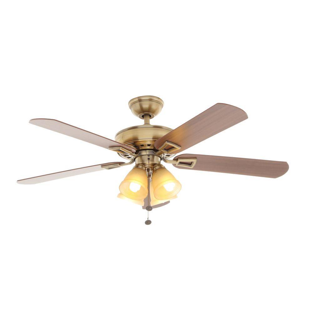 hampton bay Lyndhurst 52 in. Indoor Antique Brass Ceiling Fan with Light Kit