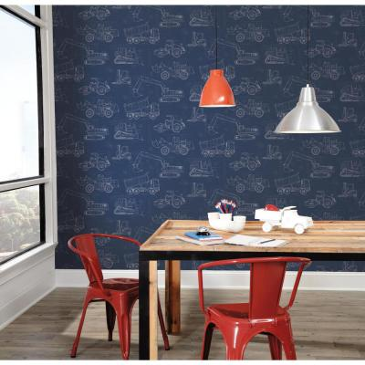 Construction Blueprint Paper Strippable Wallpaper (Covers 56 sq. ft.)
