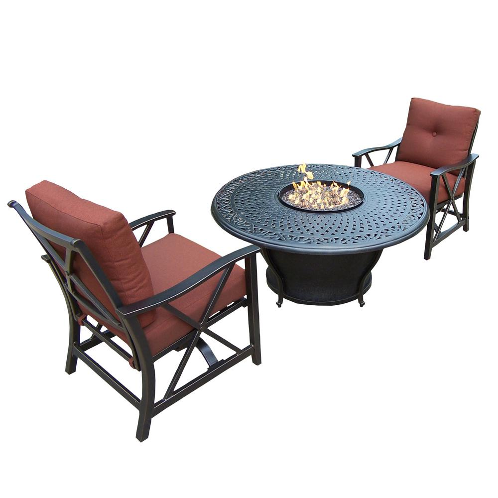 Caledonia Round 3 Piece Aluminum Patio Fire Pit Conversation Set With Oatmeal Cushions Hd8206gst 8202rc2 Ab The Home Depot