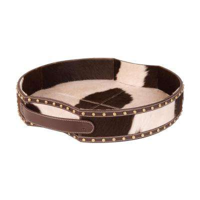 Faux Pony 20 in. x 4 in. Round Faux Leather Decorative Tray in Brown and White