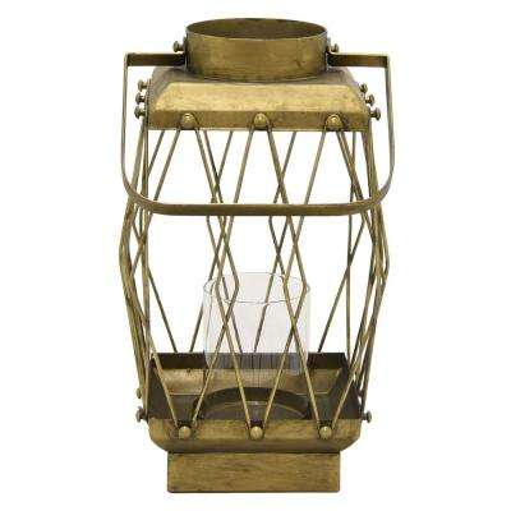 13 in. Metal Lanternin Gold