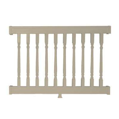 Delray 3 ft. H x  4 ft. W Vinyl Khaki Railing Kit with Colonial Spindles