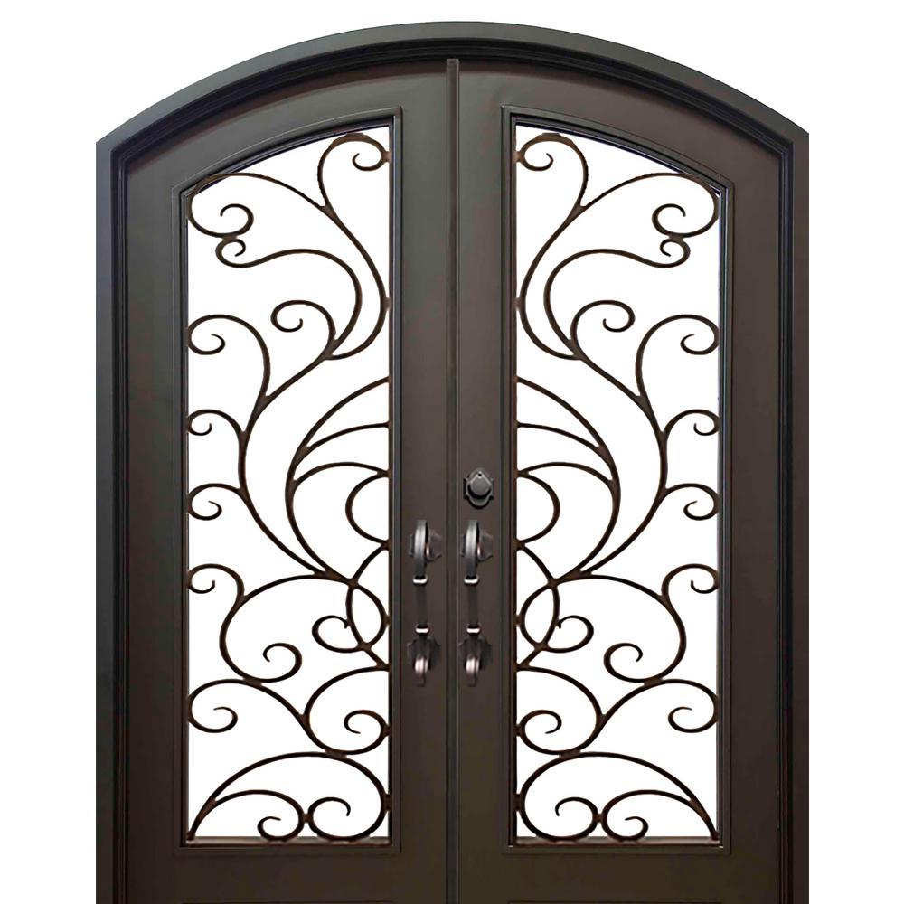 74 in. x 82 in. Eyebrow Islamorada Dark Bronze Full Lite Painted Wrought Iron Prehung Front Door (Hardware Included)
