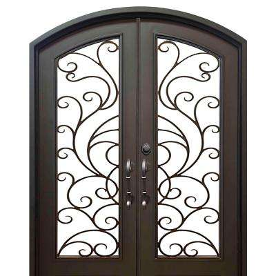 74 in. x 82 in. Eyebrow Islamorada Dark Bronze Full Lite Painted Wrought Iron Prehung Front Door (Hardware Included)