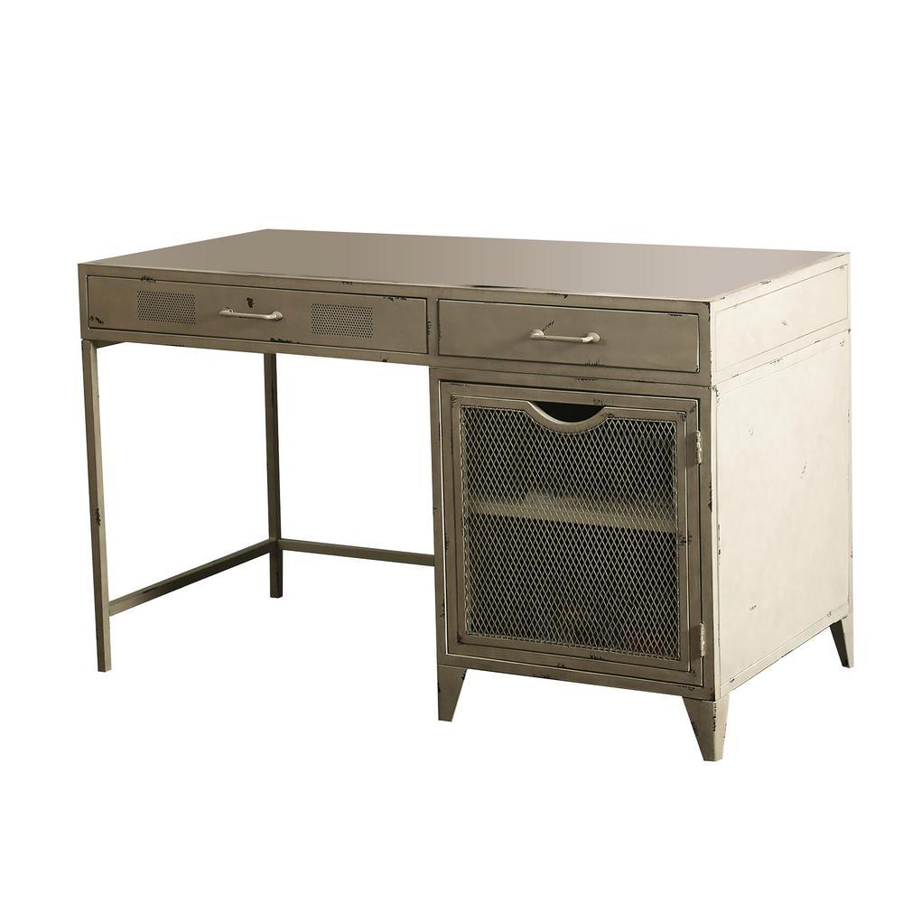 Gudmund Distressed Ivory Industrial Style Metal Desk