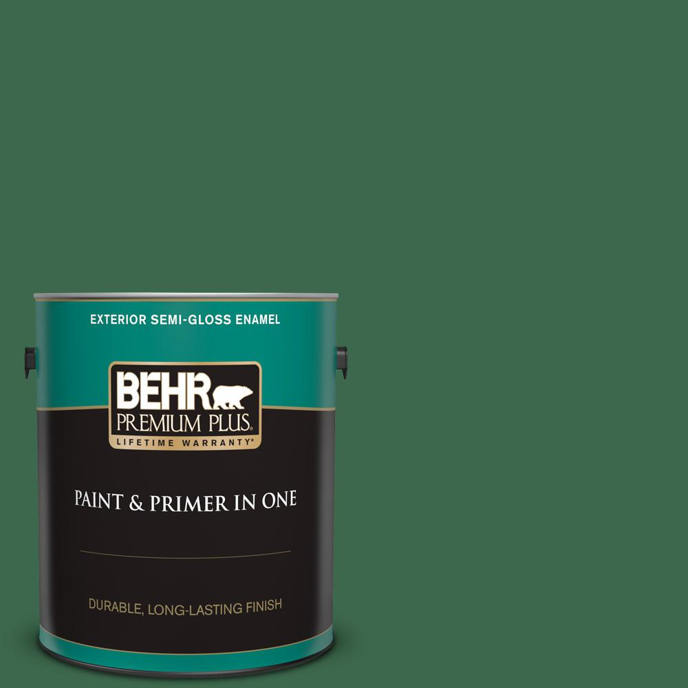 Behr Premium Plus 1 Gal 460d 7 Sabal Palm Semi Gloss Enamel Exterior Paint And Primer In One 534001 The Home Depot