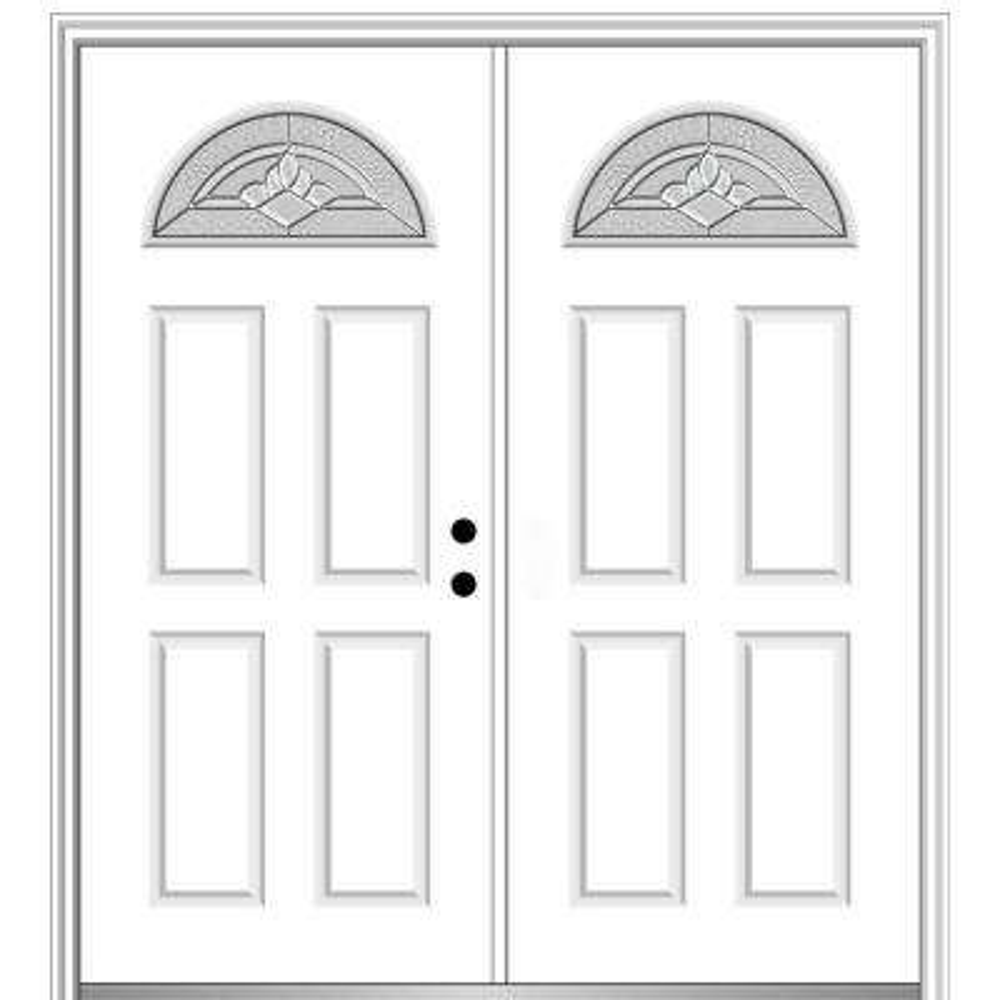 60 in. x 80 in. Grace Left-Hand Inswing Fan-Lite Decorative Primed Fiberglass Prehung Front Door on 4-9/16 in. Frame