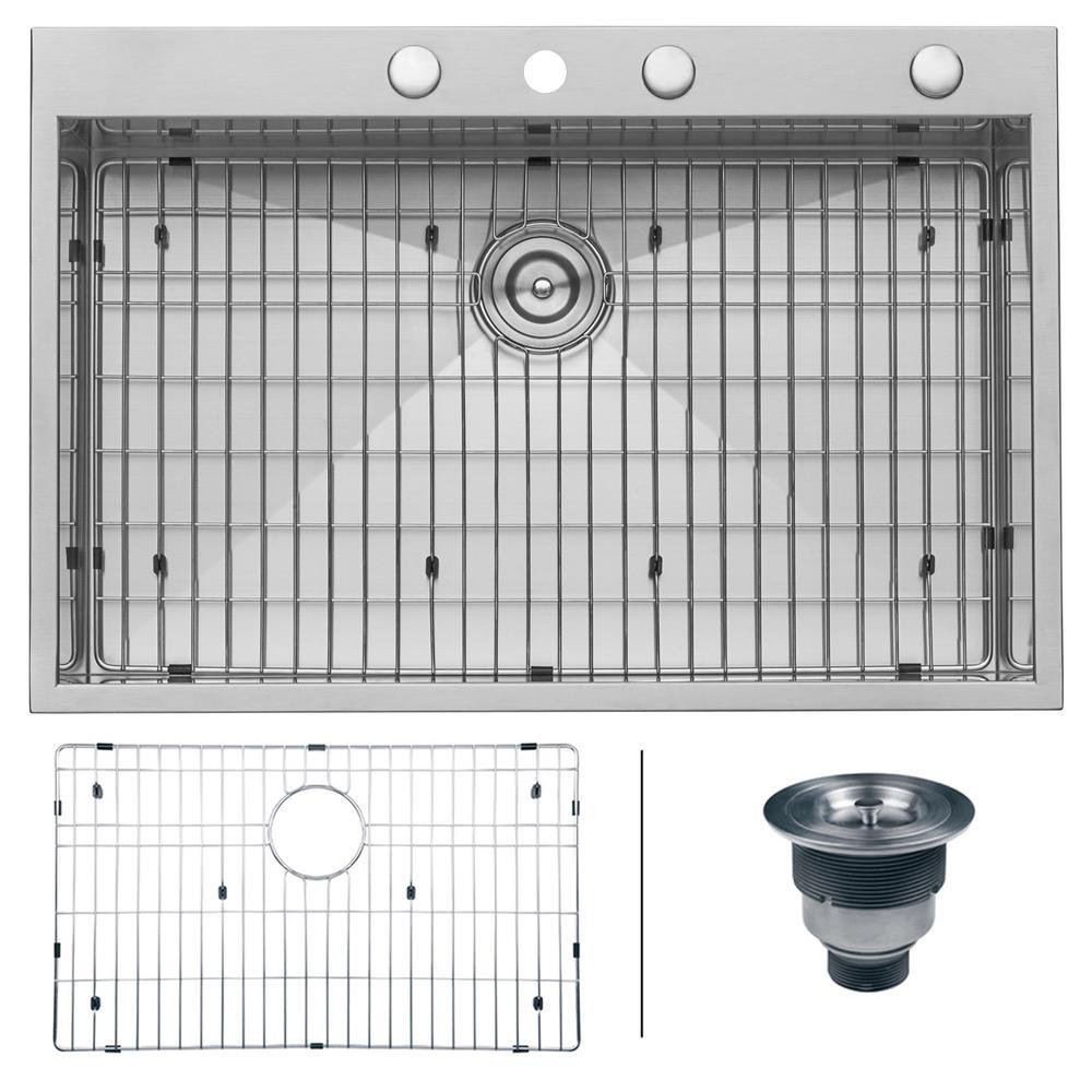 Drop-in Stainless Steel 33 in. Top Mount 16-Gauge Single Bowl Kitchen Sink