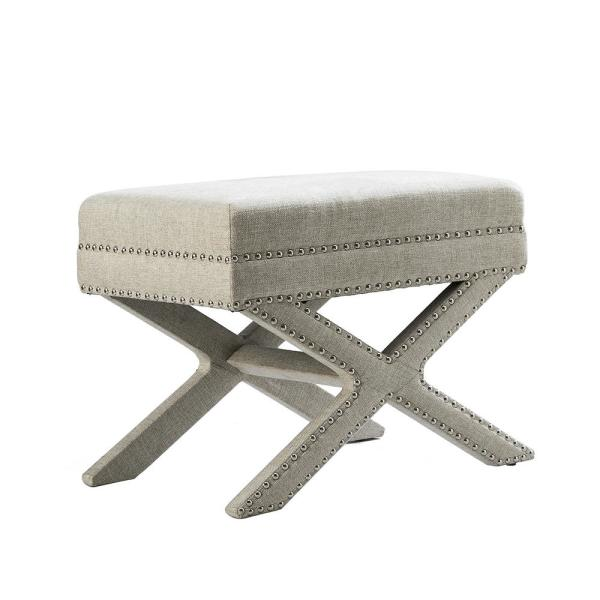 X-BASE Leigh Soft Upholstery-LIinen Wood Seating Accent Stool, Beige