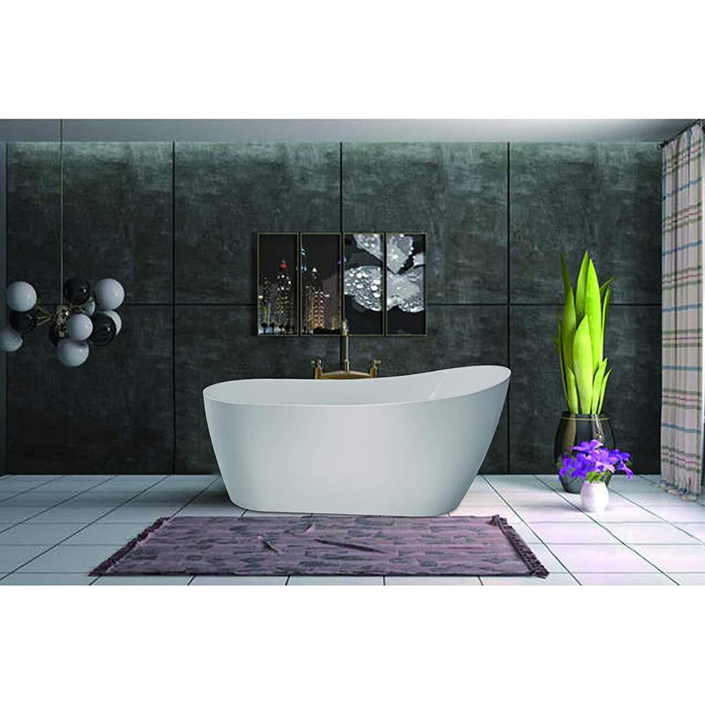 Vanity Art Clermont 59 in. Acrylic Freestanding Flatbottom Bathtub in White