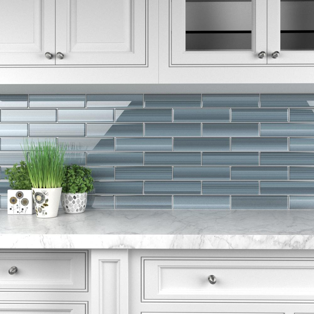 Bodesi Deep Ocean Glass Tile for Kitchen Backsplash and Showers (3 in. x 6  in. Sample - 0.125 sq. ft. /Piece)