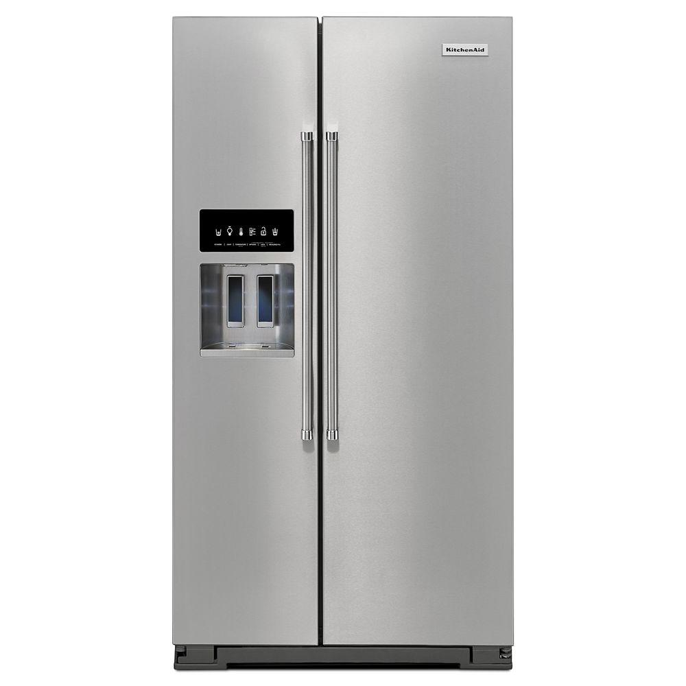 kitchenaid 24 8 cu ft side by side refrigerator in stainless steel rh homedepot com