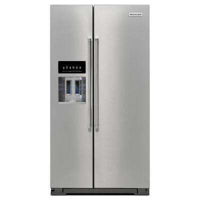 36 in. W 24.8 cu. ft. Side by Side Refrigerator in Stainless Steel