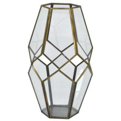 13 in. Metal/Glass Lantern in Antique Gold